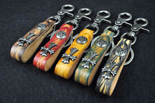 C11 Cool Cross Studded Vintage 2-Tone Genuine Leather Key Ring Keychain 5-Colors