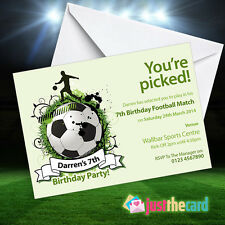 Personalised Green Football Party Invitations - Soccer Party, Football Match