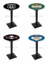 "Choose Gambling Poker Theme 36-42"" L217 Black Square Base Pub Table - 28/36"" Top"