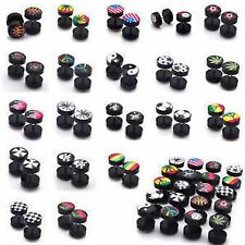 1pc  Fake Cheater Ear Plug Earring Acrylic Flesh Stretcher 10mm Various Designs
