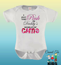 I Put the Pink in Daddy's World of Camo Baby Girl Hunting Baby Bodysuit/Toddler
