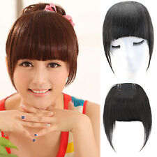30g Long Straight  Human Hair Multipurpose Bangs Fringe Clip in Hair Extensions