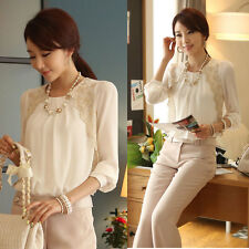 New Women Long Sleeve Pleated Lace Casual Chiffon OL Tops Blouse Shirt White