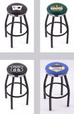 Choose Gambling Poker L8B2C Black Single-Ring Swivel Bar Stool w/ Chrome Accent