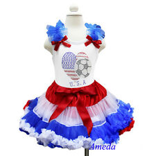 Red White Blue Pettiskirt World Cup USA Flag Heart Tee Tank Top Party Dress 1-7Y