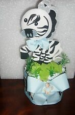 ZEBRA JUNGLE DIAPER CAKE BABY SHOWER MOMMY TO BE GIFT BIRTHDAY CENTERPIECE 14.99