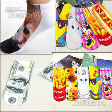 New Fashion 3D Printed Unisex Low Cut Ankle Socks Multiple Colors Tiger Cat Star