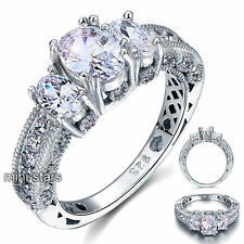 Vintage Style Created Diamond 925 Sterling Silver Wedding Engagement Ring FR8093