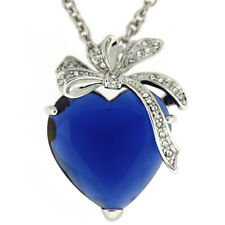 "Beautiful Heart and Bow Crystal Adorned ""Kate"" Pendant Necklace by Bucasi"