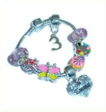 CHILDRENS/GIRLS PERSONALISED NAME/INITIAL & AGE CHARM BRACELET PINK/YELLOW BOXED