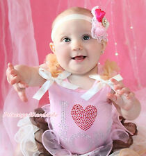 Mother's Day Rhinestone Heart LOVE MOM Light Pink Baby Girl Pettitop NB-10Y