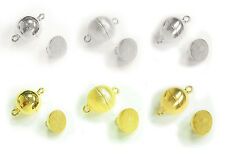 Sterling Silver Gold 1 strand Round Ball Magnetic Clasp Variable Style / Size