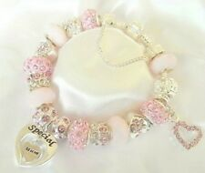PERSONALISED XSPARKLE PINK & SILVER~CHARM BRACELET MOTHERS DAY~BIRTHDAY GIFT BOX