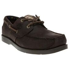 New Mens Timberland Brown Kiawah Bay Leather Shoes Boat Lace Up