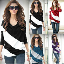Women Girl Loose Casual Blouse T Shirt Tee Striped Batwing long Sleeve Tops