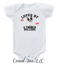 Loved by a French Bulldog Funny Baby Boy / Girl Baby Bodysuit or Toddler Tee