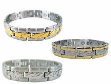 Magnetic Stainless Steel Bracelet Quilted Design for Magnetic Therapy