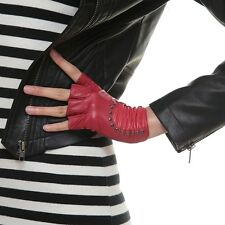 2014 NEW Women Lady's Fingerless rock punk Rivets Driving soft Leather Gloves