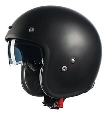GLX DOT Open Face Scooter Bobber Motorcycle Helmet w/ Sun Shield Matte Black