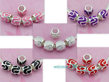 20x 50x Silver Tone Cute Enamel Charm Beads Fit Bracelet Pick Qty Free Ship E32