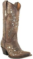 LADIES LUCCHESE M3574 GLITTER CALF LEATHER COWGIRL WESTERN BOOT W/ CREME INLAY