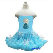 Embroidered Elsa Princess Blue Birthday Pettiskirt Snowflake Party Dress Costume