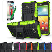 Rugged Armor Hybrid Kickstand Case Hard Cover For LG Optimus L70 MS323 Exceed 2