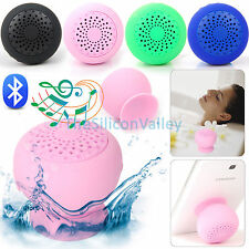 Portable Mini Wireless Waterproof Bluetooth Speaker Mic Silicone Suction Cup Car