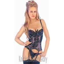 Sexy Black PVC Basque/Corset and Thong Lingerie/Underwear Set NEW Select Size