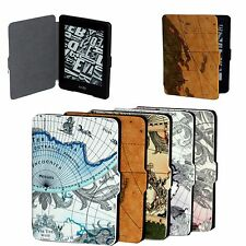 CY Map Leather Case Flip Cover Protective Skin for Amazon Kindle Paperwhite
