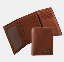 FOSSIL MEN'S ESTATE ZIP TRIFOLD WALLET WITH TIN COGNAC NEW NWT