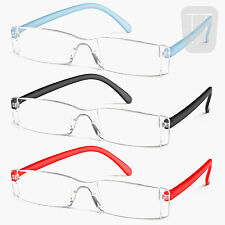 3 PAIRS NEW RIMLESS READERS READING GLASSES - MANY COLOURS/STRENGTHS +1.5 to 4.0
