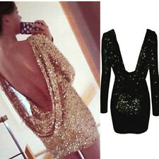 Hot Sexy Lady Backless Sequin Long Sleeve Party Bodycon Mini Dress Clubwear S-XL