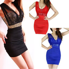 Sexy Women Mesh Sequin Glitter V Neck Bodycon Stretch Party Cocktail Mini Dress