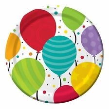 "Bright Shimmering Balloons Birthday Party Supplies Plates Dessert 7"" - Dinner 9"""