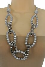 Women Fashion Necklace Large Round Links Big Grey Silver Imitation Pearl Beads