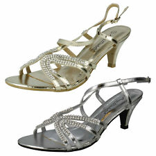 L3416- Ladies Anne Michelle Synthetic Heeled Sandals 2 Colours- Gold&Silver
