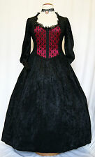 Victoria Dress Goth Velvet Lace Steampunk Bridesmaid Victorian Vampire OBSIDIAN