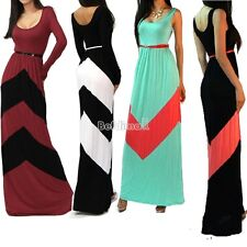 S M L CHEVRON COLOR BLOCKED LONG SLEEVE EMPIRE WAISTED JERSEY MAXI DRESS BE0D