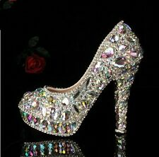 Women's Colorful Glitter Crystal Platform High Heels Wedding Evening Party Shoes
