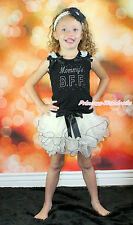 Baby Girl Rhinestone Mom's B.F.F. Black Top Bow White Petal Pettiskirt Set NB-8Y
