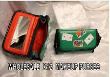 POKER  MAKEUP COSMETIC BAG  waterproof MIRROR JOB LOT X12 wholesale shop stock