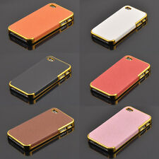 New Arrival Hard Back Phone Case Luxury Leather Chrome Cover For Iphone4/4s/5/5s