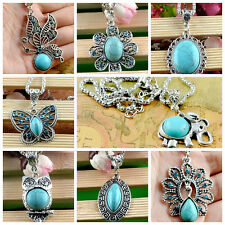 hot! Classical Natural Turquoise cute tibet silver hook Pendant+Necklace