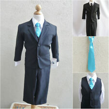 Boy black formal suit with turquoise blue long tie wedding graduation party