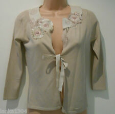 Principles Beige Party Knitted Top Wrap Cardigan  (NEW) Size:8 Petite