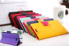 Deluxe Dual Color PU Leather Flip Cover Wallet Stand Case For LG Sony HTC iPhone
