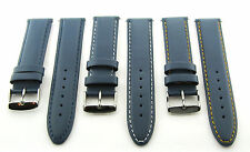 18-19-20-22-24MM LEATHER WATCH BAND STRAP SMOOTH FOR BREITLING BLUE #16