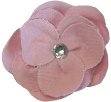 Pretty Canvas Fabric Flower Brooch Pin Accessory With Diamante