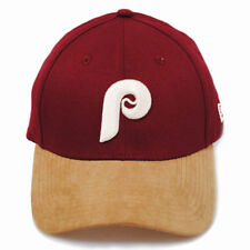 New Era 39thirty Vintage Philadelphia Phillies Burgundy Suede Peak Hat Cap